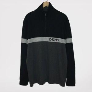 DKNY Logo Retro Stripe 1/4 Zip Pullover Sweater